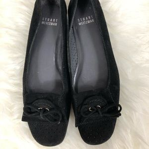 Stuart Weitzman  Black Perforated Suede flats